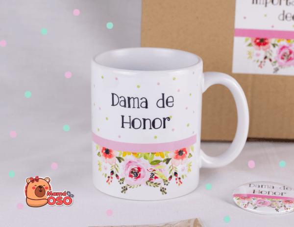 taza dama de honor floral