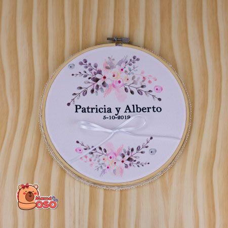Bastidor porta alianzas personalizado boda flowers