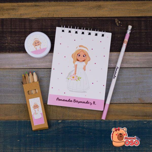libreta personalizada comunión niña y lápiz