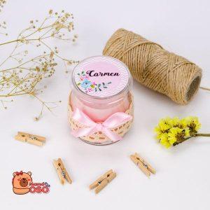 vela personalizada rosa comunión carmen