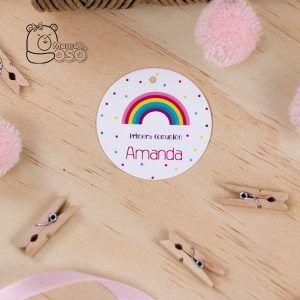 etiqueta para comunión arcoiris