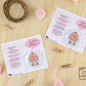 tarjeta quieres ser mi padrino y madrina baby rosa niña