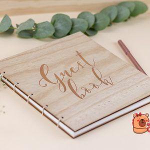 Libro de firmas tapa de madera rose gold