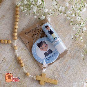 pack bálsamo y espejo personalizado para comunión de niño colección oscar