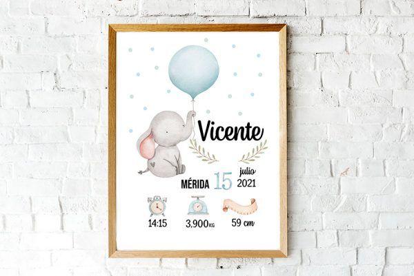 Lámina personalizada nacimiento bebé